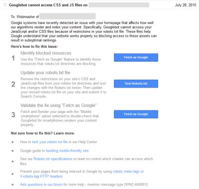 Googlen varoitus CSS ja JS tiedostoista