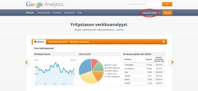 Kirjaudu ensiksi Google Analyticsiin