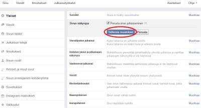 Aseta yrityksesi Facebook-sivu salaiseksi jos et ole vielä valmis
