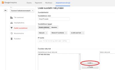 Lisää suodatin ja oma IP-osoite