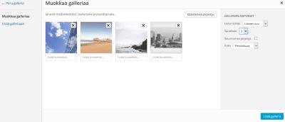 Kuvagallerian muokkaaminen WordPressissä