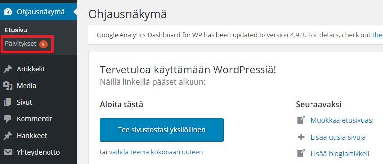 WordPress teeman päivittämminen