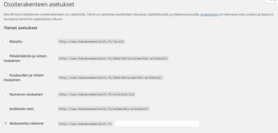 WordPress kotisivut osoiterakenteen asetukset