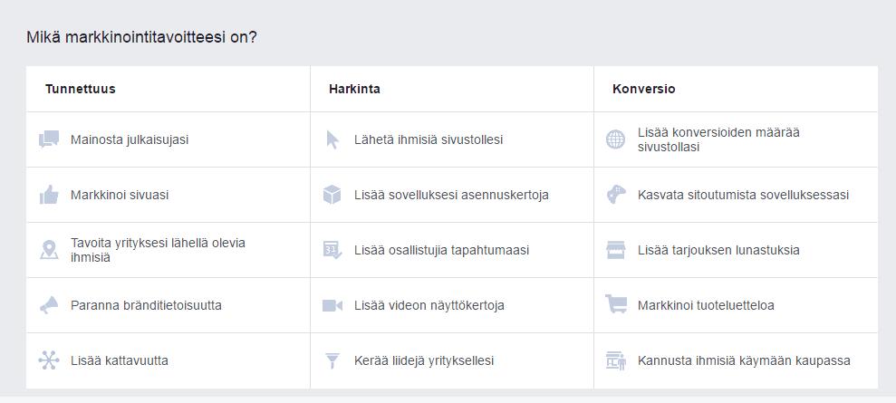 facebook-mainonta-vaihtoehdot